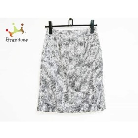 ニジュウサンク 23区 スカート サイズ36 S レディース ライトグレー×黒           スペシャル特価 20190522【人気】