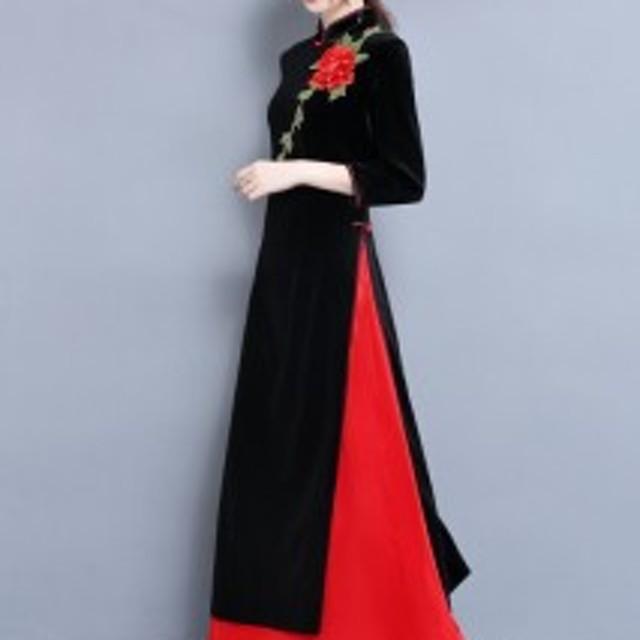 a3c42ca456305 ベルベット パーティドレス 結婚式 ドレス お呼ばれ ワンピース ロング 七分袖 刺繍 アクセント スリット 秋冬