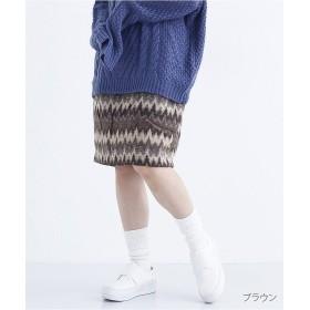 メルロー ネイティブ柄タイトスカート1691 レディース ブラウン FREE 【merlot】