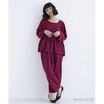 メルロー ぺプラムトップスセットアップ1736 レディース ピンク FREE 【merlot】