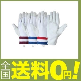シモン 豚革手袋 甲部メリヤス 袖口ゴムタック式(赤白青) PL-126 LLサイズ (1双)