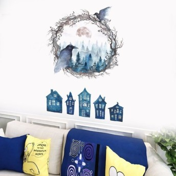 ウォールステッカー 壁紙シール リメイクシール DIY 壁飾り おしゃれ ルームデザイン 鳥 カラス 水彩画風 子供部屋 リビング トイレ ベットルー