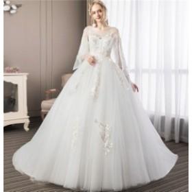 妊娠でもOK ウェディングドレス ロングドレス  編み上げタイプ  イブニングドレス Aライン 花嫁の結婚式 披露宴 送料無料 LJ293