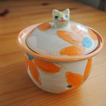 ニンニクポット(猫・オレンジ)