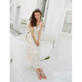 結婚式 ドレス お呼ばれ ワンピース 20代 30代 40代 ロングワンピース レース ホワイト 大人フォーマル リゾート 大きいサイズ