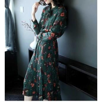 18年新作 春 グリーン ファション ロングワンピース 花柄 レディース キレイめ着痩せ 長袖 ドレス ワンピース 通勤 送料無料