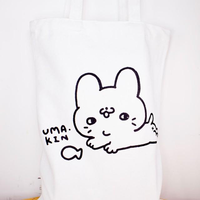 太い猫 トートバッグ 白
