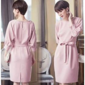 フォーマル OL 大きいサイズ 上品 大人 服装 ネイビー ピンク 送料無料