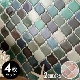 モザイクタイルシール モロッカンS ランダムカラー 正方形 4枚入り 水回り 壁面 DIY ウォールステッカー 壁紙 シート