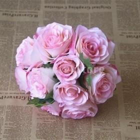 3色選べる  10ヘッド 結婚式 装飾 造花  シルク お祝い 花嫁花束 ローズ  ウェディングブーケ  - ピンク