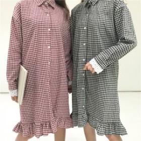 シャツワンピ カジュアル 裾フレア ゆったり 袖口レース ミディアム 送料無料