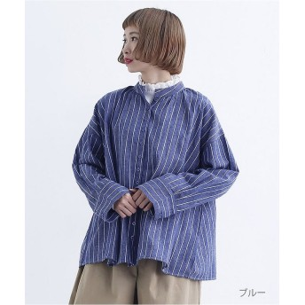 メルロー スタンドカラーストライプ柄ブラウス7831 レディース ブルー FREE 【merlot】