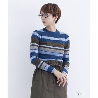 メルロー マルチボーダーリブプルオーバー レディース ブルー FREE 【merlot】
