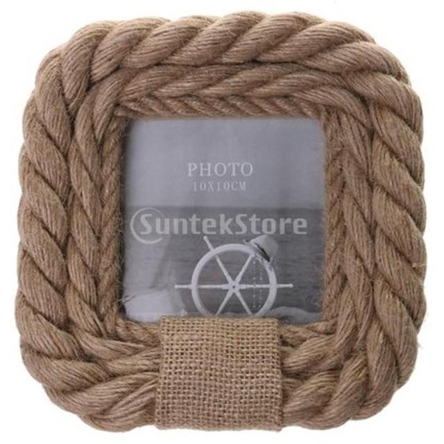 フォトフレーム 航海スタイル 麻のロープ 木製 写真 スタンド 5タイプ選べ - #2, 17×17cm