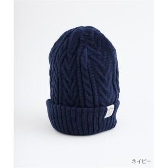 メルロー ケーブル編み×リブ編みリバーシブルニット帽 レディース ネイビー FREE 【merlot】