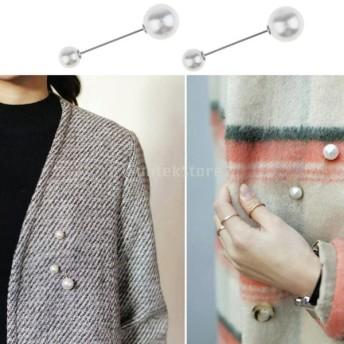 2個 人工真珠 ブローチ 襟ピン 安全ピン バッジ 女性 アクセサリー 全4種類 - シルバーデザイン1