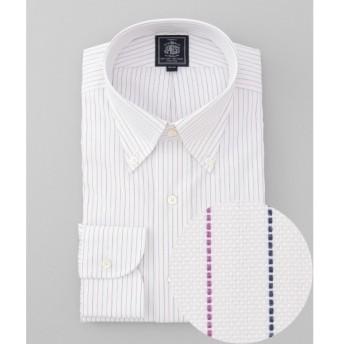 J.PRESS / ジェイプレス 【形態安定】PLEMIUM PLEATS / オルタネートストライプ ボタンダウンシャツ