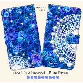 Android 手帳型スマホケース 【Lace & Blue Diamond ブルーローズ】(iPhoneにも対応)