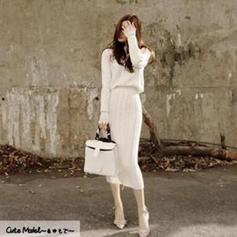 お呼ばれ 二次会 清楚 上品 可愛い きちんと感 大人スタイル ノーカラー 女性らしさ ロング タイトスカート ニット
