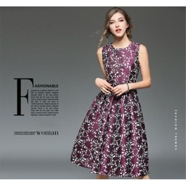 92a3f9493e1ae Aラインワンピ ノースリーブ フォーマル 花柄ドレス フレアワンピース ロング