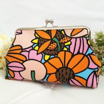 ◆縁取りフラワーのサイケながま口ポーチオレンジ花柄ポップ旅行やプレゼントにも秋色秋柄