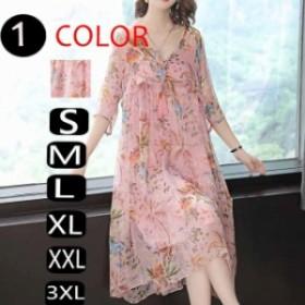 韓国 ファッション レディース ワンピース リゾートワンピース Aラインワンピ 夏 大きいサイズ 花柄 Aライン 半袖