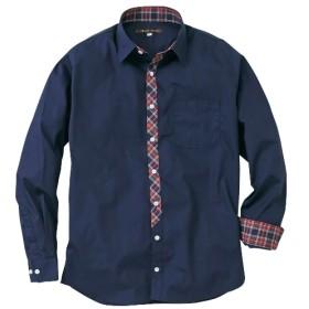 日本製前たてチェック柄切替長袖シャツ カジュアルシャツ