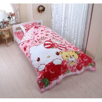 ハローキティのフランネルあったか寝具(毛布。敷パッド。まくらパッド。ごろ寝マット)