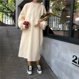 【f0100】シンプルトレーナーロングワンピース マキシ丈 プルオーバー  ロングスカート カラフル 韓国ファッション