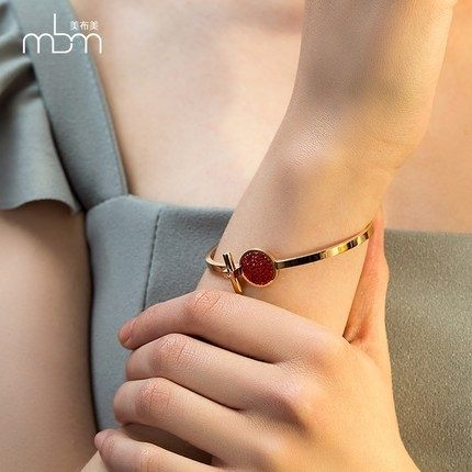 新款滿鑽時尚玫瑰金手環10 鈦鋼飾品不褪色不過敏