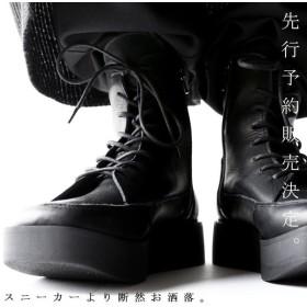 本革 ブーツ 日本製 ブラック 本革スクエア厚底ブーツ・再販。「G」##メール便不可