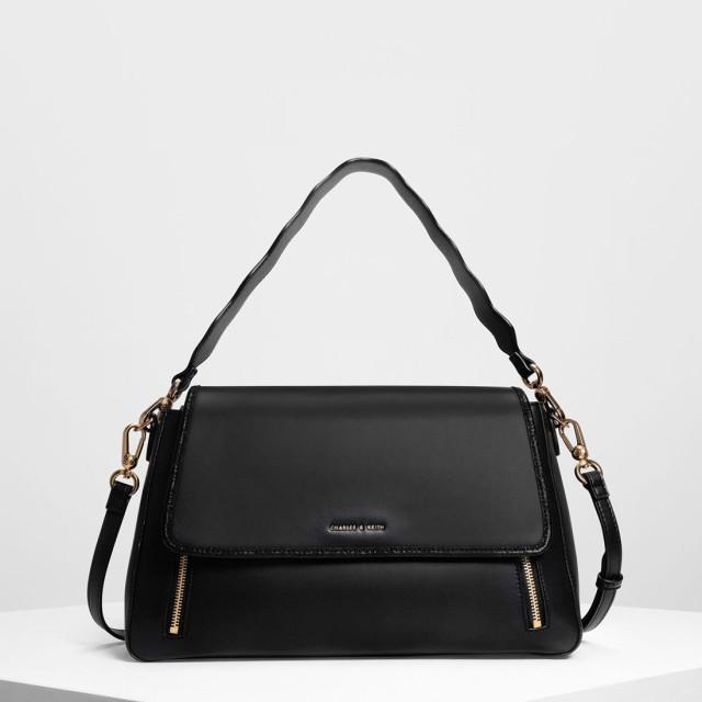 CHARLES&KEITH チャールズ&キース Zip Detail Front Flap Bag