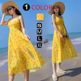 お呼ばれワンピースマキシ丈ワンピースきれいめ夏キャンソールワンピ大きいサイズ韓国風 シフォンセクシードレス結婚式水 海/XL