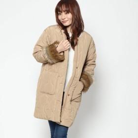 スタイルブロック STYLEBLOCK 高密度タフタ袖ファー付きキルティングコート (ベージュ)