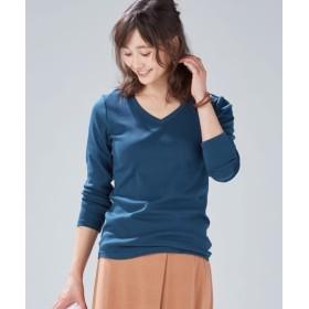 ニッセン UVカット綿100%フライス素材Vネック長袖Tシャツ