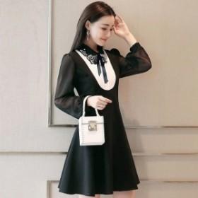 ドレス ワンピース 膝丈 長袖 Aライン ブラック 黒 秋 冬 大きいサイズ レディース 大人 30代 40代 50代