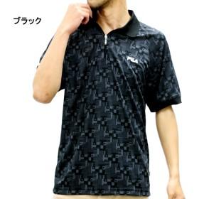 ポロシャツ - MARUKAWA フィラ ポロシャツ 大きいサイズ メンズ 夏 ジップ 吸汗速乾 ブラック/ネイビー 2L/3L/4L/5L【ブランド 半袖 ドライ】