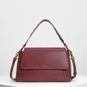 ジップディテール フロントフラップバッグ / Zip Detail Front Flap Bag (Prune)