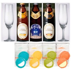 【送料無料】【期間限定】独歩 名入れクラフトビール3本&グラスセット〈雪ラベル〉と志ま秀 クアトロえびチーズ8枚のセット たまひよSHOP・たまひよの内祝い