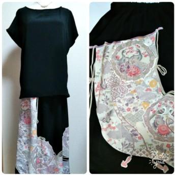 【送料無料】セットアップ 着物リメイク 黒留め袖 シルク フレンチ袖のブラウスと華やかロングスカート(孔雀)