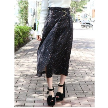 dazzlin ベロアプリントスカート(ブラック)