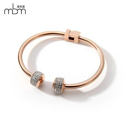新款滿鑽時尚玫瑰金手環9 鈦鋼飾品不褪色不過敏