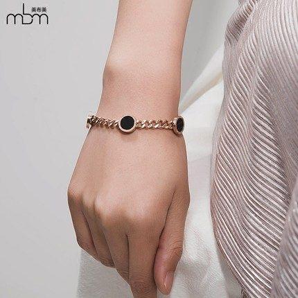 新款滿鑽時尚玫瑰金手環7 鈦鋼飾品不褪色不過敏
