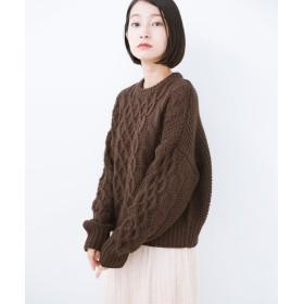 ハコ 古着屋さんにありそうな ざっくり編みがかわいいウール混ケーブルニットby que made me レディース ブラウン M 【haco!】