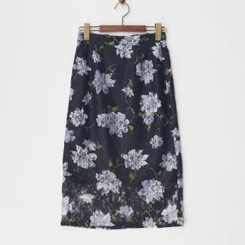 DEBUT DE FIORE レースプリントタイトスカート 5512418550 ネービーブルー スカート サイズ:36