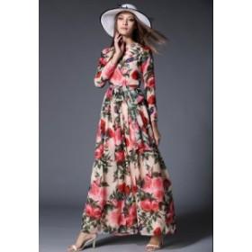 レディース マキシワンピース 花柄 フラワー 薔薇 ローズ ドレス ロング 40代 30代 50代 20代 結婚式 二次会 食事会 お出かけ デート