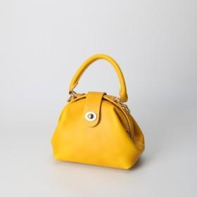 【切線派】丸のがま口 本革手作りのミニレザーショルダーバッグ 総手縫い 手持ち 肩掛け 2WAY 鞄