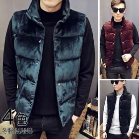 メンズファッション 男性 トップス 冬 ダウンベスト 袖なし 華やかさが加わるクラッシュベルベット 韓国風 ツヤ感がある素材が今年っぽく 男のお洒落 カジュアル