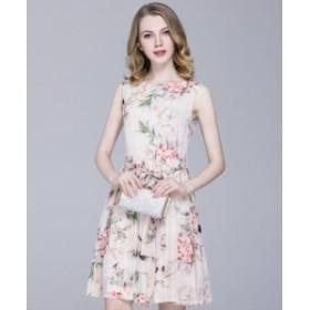 フラワー シフォン ミニ ワンピース ひざ上丈 花柄 お呼ばれ パーティー ドレス ラウンドネック ノースリーブ レディース
