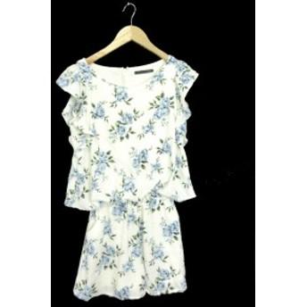 【中古】ヘザー Heather オールインワン ロンパース 花柄 半袖 F 白 ホワイト /YT4 レディース